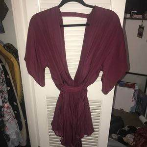 Maroon Deep Cut Romper with Tie size M NEVER worn
